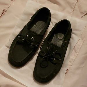 Black leather Sperry's